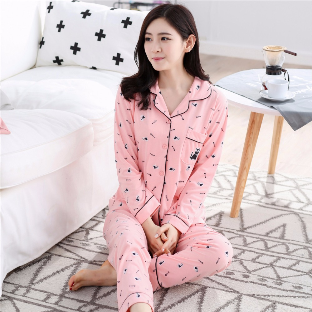 Autumn Winter Long Sleeve Ladies Cotton Warm Pajamas Women ...