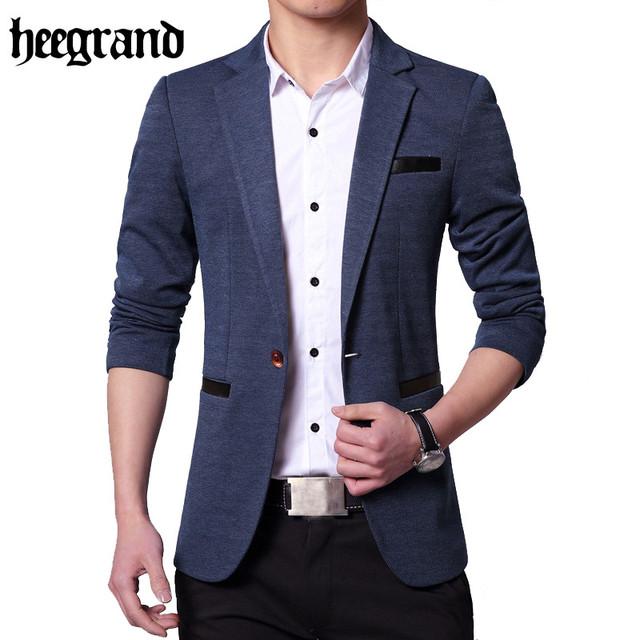 Brandblazer hee grand 2017 hombres de la moda británica del estilo ocasional slim fit hombres traje chaqueta escudo plus tamaño 4xl mwx347