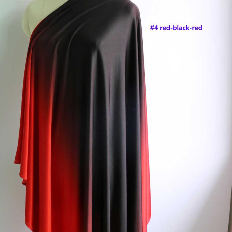 Ombre спандекс ткань черный красный танец латинское платье материал трикотаж стрейч 100 см * 150 см