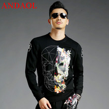 ANDAOL Mens Hoodies Sweatshirts Top Quality Slim Print Skulls O-Neck Pullover Jacket Luxury Harajuku Stretch Cotton Tracksuits