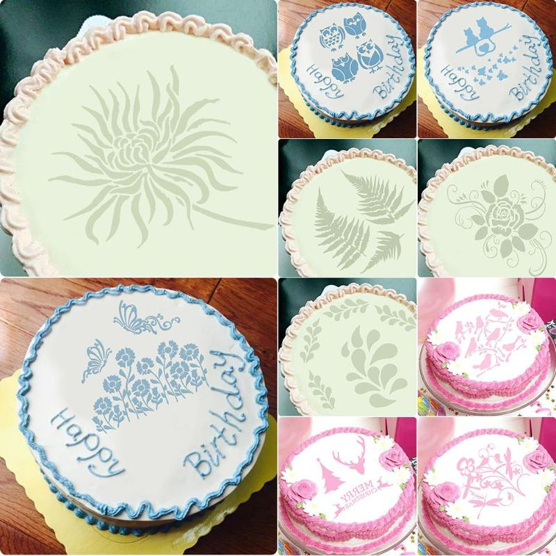 Eco Friendly DIY Cake Flower Spray Mold Stencils Birthday