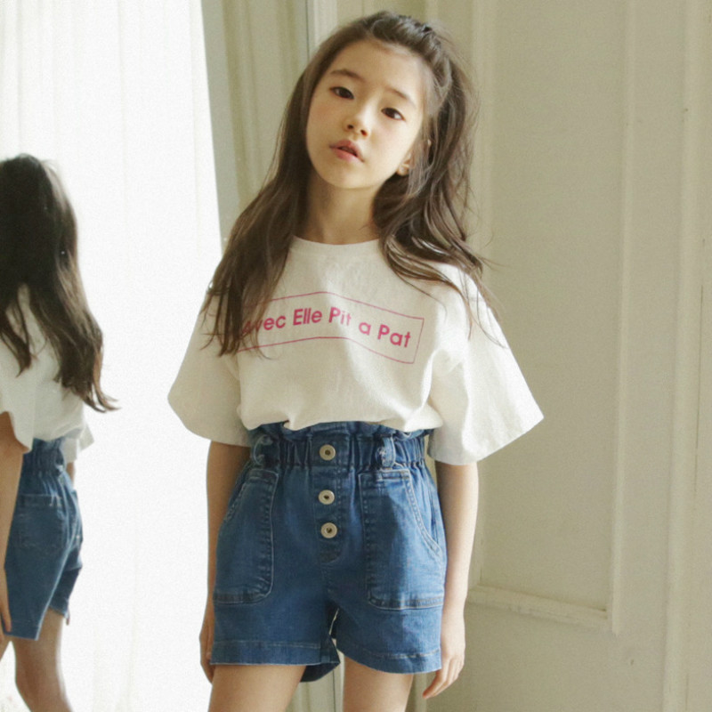Girls Fashion Suit Summer Letter Print T-shirt and Bow Belt Denim Shorts 2pcs / Set Cute Shirt Children's Clothing Set CC978 lonsant new 2018 summer baby girls kids girls love heart bow vest t shirt bow plaid shorts set sleeveless round neck clothing