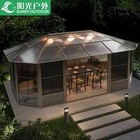Sunroom с навес из поликарбоната пиковая Высокая 275 см/сетка на окно экран/задний двор уличный садовый павильон
