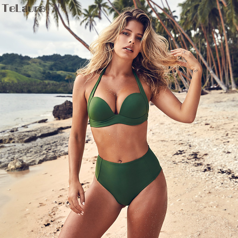 TeLaura Sexy Bikini de cintura alta conjunto traje de baño para mujer Push Up 2018 Bikini Halter Top traje de baño ropa de playa Biquini