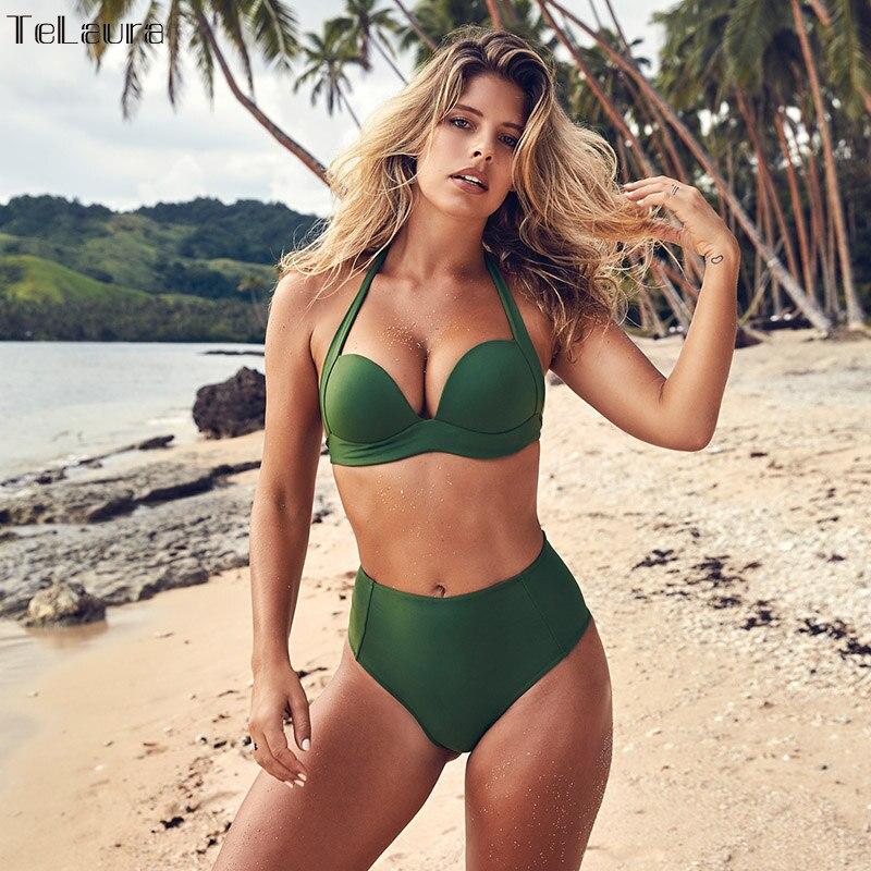 TeLaura Sexy High Waist Bikini Set Swimwear Women Swimsuit Push Up 2018 Womens Bikini Halter Top Bathing Suit Beachwear Biquini