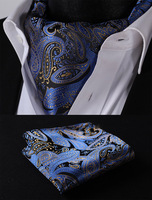 RF414BSสีน้ำเงินสีดำลายAscot Tieพ็อก