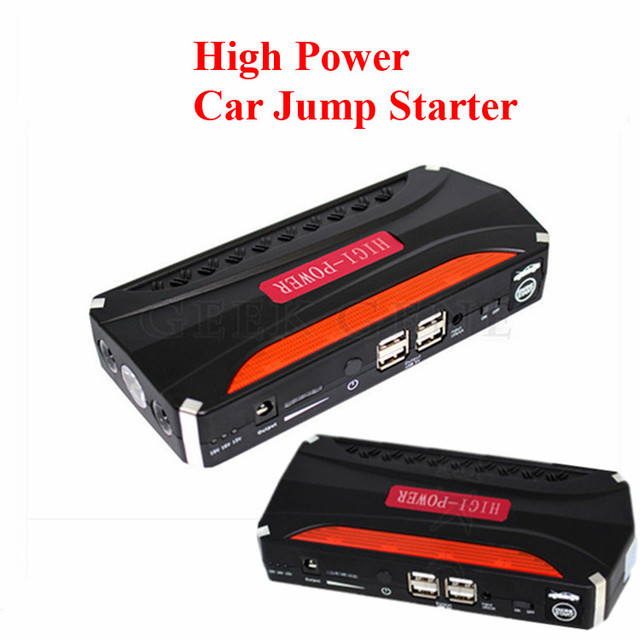 High Quality Professional 12000mAh 12V Gasoline Diesel Car Jump Starter 600A Peak Car Charger 4USB Power Bank SOS Free Ship