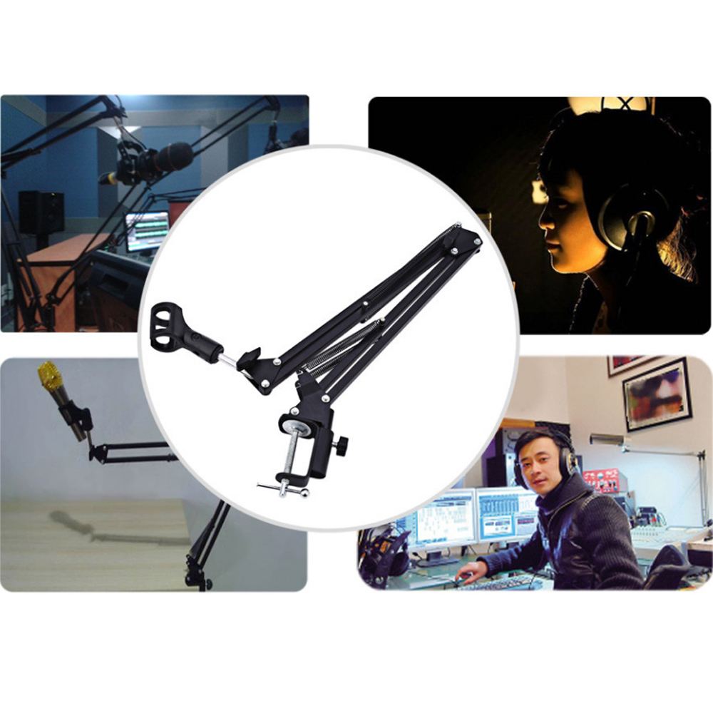 Zeepin 270 Degree Adjustable Metal Suspension Scissor Arm Microphone Stand Holder for Mounting on PC Microphone Not Included in Microphones from Consumer Electronics