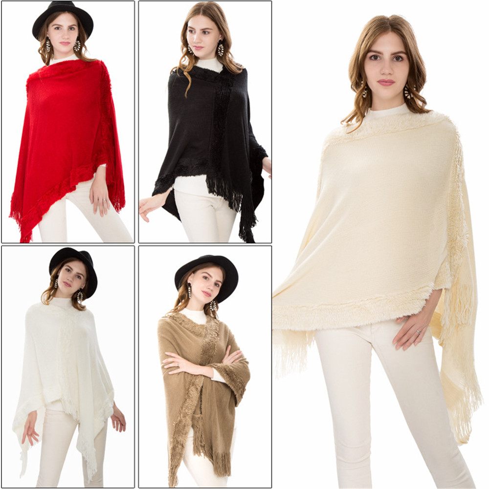 Sexy Retro winter knitted turtleneck cape shawl female fashion stripes European and American style ladies scarf cloak