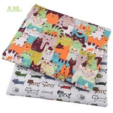 Chainho,Cat Cartoon Series,Printed Cotton Linen Fabric For DIY Quilting & Sewing Sofa,Table Cloth,Curtain,Bag,Cushion Material