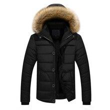 Nouveau Design Hiver veste Hommes 2017 Col De Fourrure Hommes Coton Rembourré Veste Épaissir Chaud Manteau Kaki Imperméable Coupe-Vent Pardessus 5XL