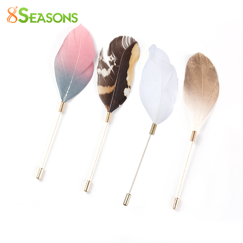 8SEASONS Zinc Alloy New Stylish Colorful Feather Brooch Women Fashion Garment Pins Accessories Jewelry, 1 Piece