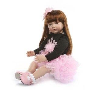 NPK 60 см силиконовая кукла для новорожденных, игрушки, как настоящая виниловая принцесса, куклы для малышей, куклы для девочек, подарок на день рождения, игровой домик