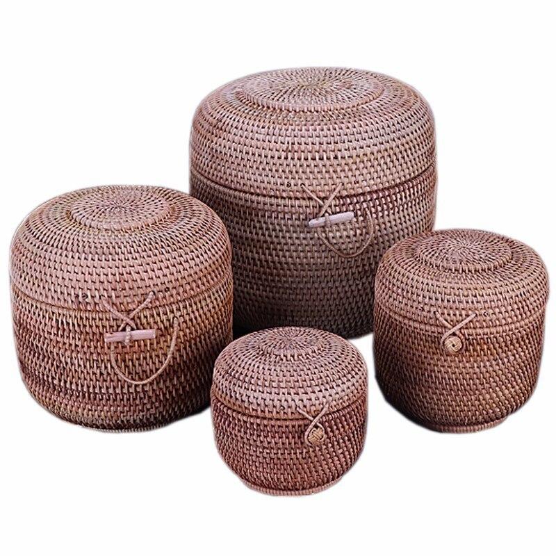 Rattan Weave Potravinářské kontejnery Skladovací krabice Handmade organizér Kuchyně prodyšné nádoby pro sypké produkty Banky Sklenice Čepice Jug Lock
