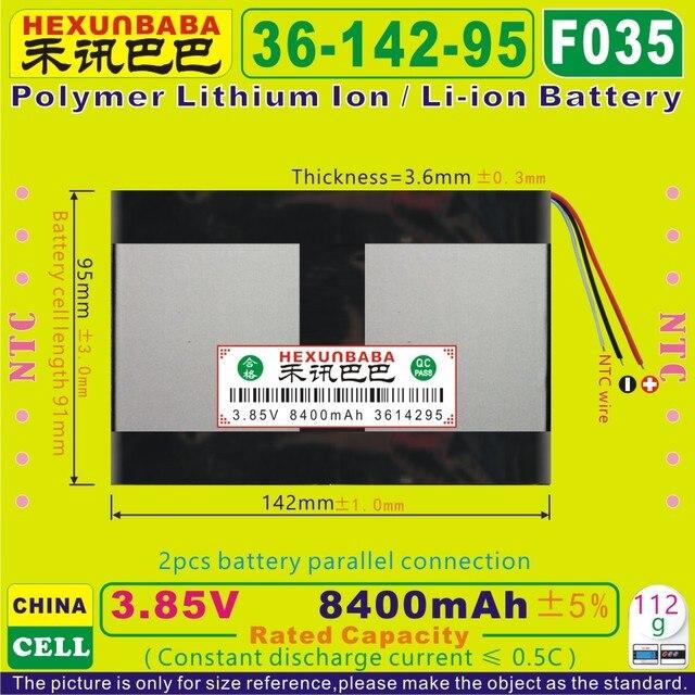 [F035] 3.85 V, 3.8 V, 3.7 V 8400 mAh [3614295] PLIB (polymer lithium ion/Li-Ion pin) cho máy tính bảng pc; ngân hàng điện; e-book