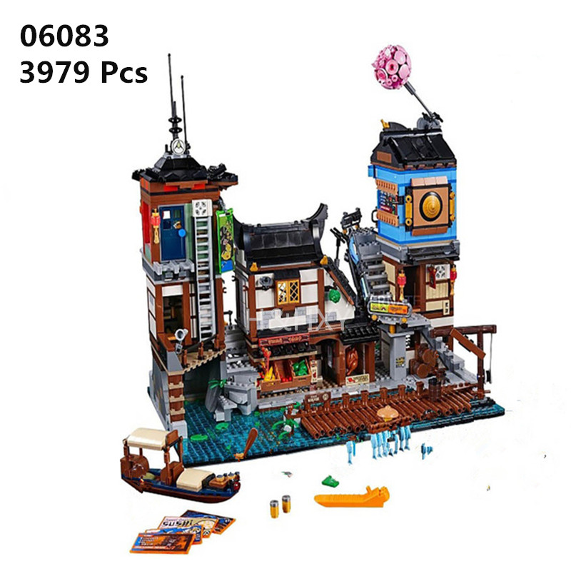 H&HXY New 06083 3979Pcs Building Series 70657 City Docks Set LEPIN Building Blocks Bricks New Kids Toys Collectible Toys Gift lepin 16001 4705pcs city street series ghostbusters firehouse headquarters building block bricks kids toys for gift 75827
