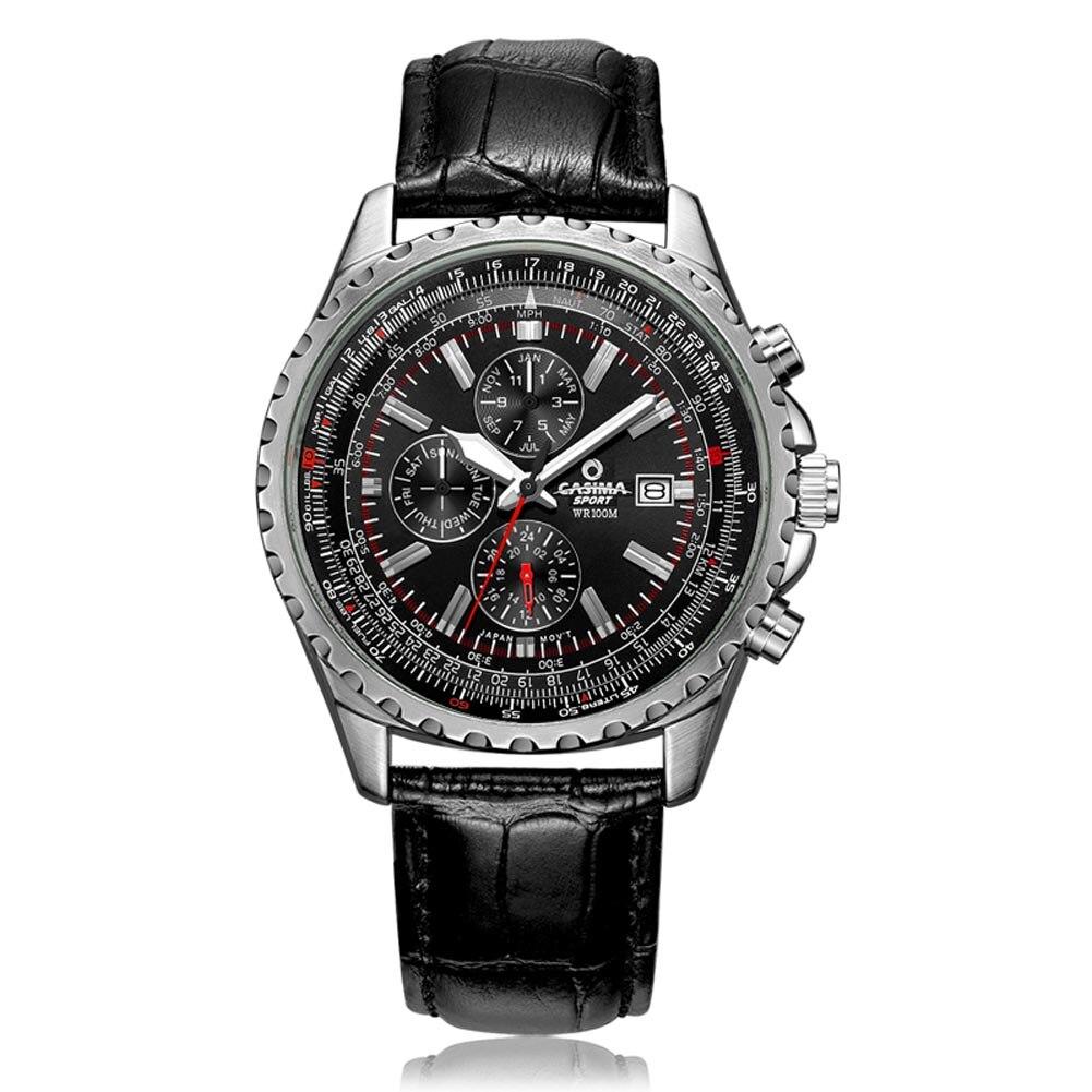 лучшая цена Men Quartz Watch Chronograph Leather Band Luminous Waterproof Wristwatch LL@17