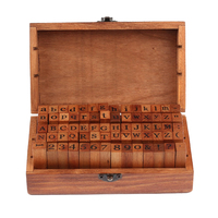 2016 70pcs Vintage DIY Number And Alphabet Letter Wood Rubber Stamps Set With Wooden Box For