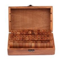 Heißer Verkauf 70 stücke Vintage DIY Anzahl Und Alphabet Brief Holz Stempel Set Mit Holzkiste Für Den Unterricht Und Spielen spiele