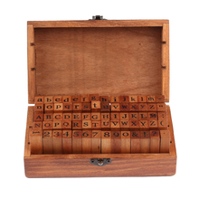 Hot Sale 70pcs Vintage DIY Number And Alphabet Letter Wood Rubber Stamps Set With Wooden Box For Teaching And Play Games