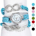 Perfect Gift  Womens Bracelet Weave Wrap Quartz Leather Angel Wings Wrist Watches Levert Dropship July29P50