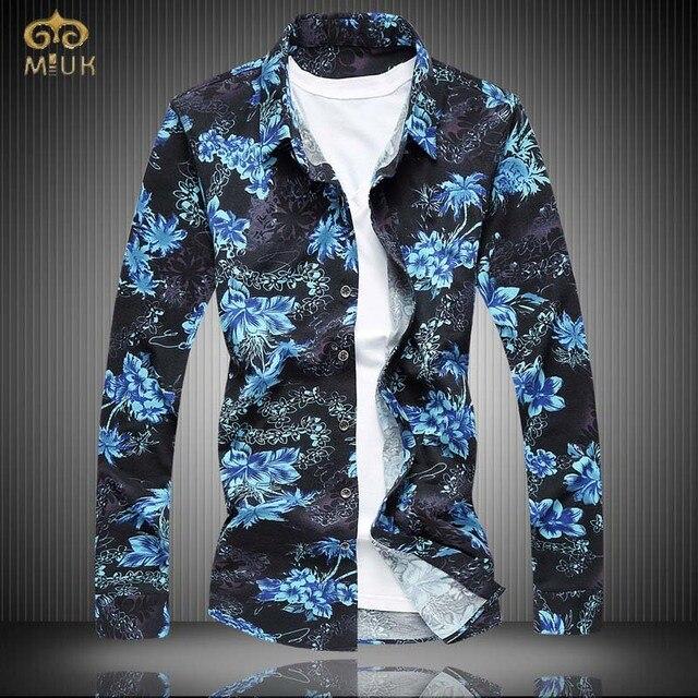 MIUK 2017 Новый Супер Большой Размер Цветочные Camisa Masculina 7XL 6XL 5XL Марка Clothing Мужчины Цветок Рубашка С Длинным Рукавом Гавайских рубашка