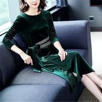Hot Sale Gold Belt Strap Velvet Dress Dark Green Long Sleeve O Link A Line Dress