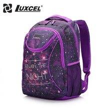 Luxcel deux couleur de mode sac à dos casual femmes sac W/impression cartable pour filles adolescente sac à dos mochila