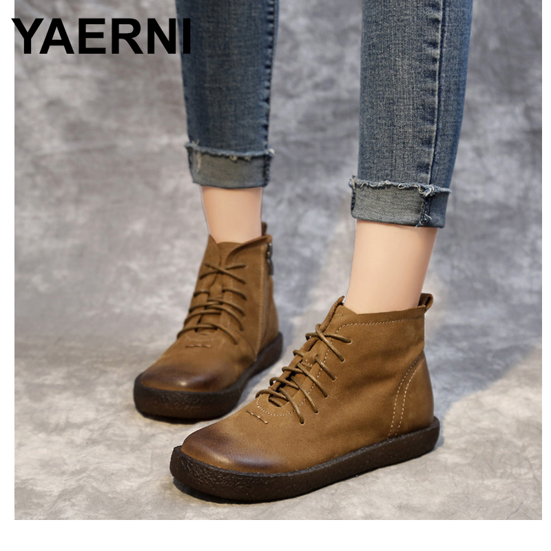 YAERNI New Mild-calf Boots Shoes Women Genuine Leather Lace Up Ladies Boots Retro Low Heel Rubber Boots Women Winter Boots E686 retro engraving and lace up design women s sweater boots