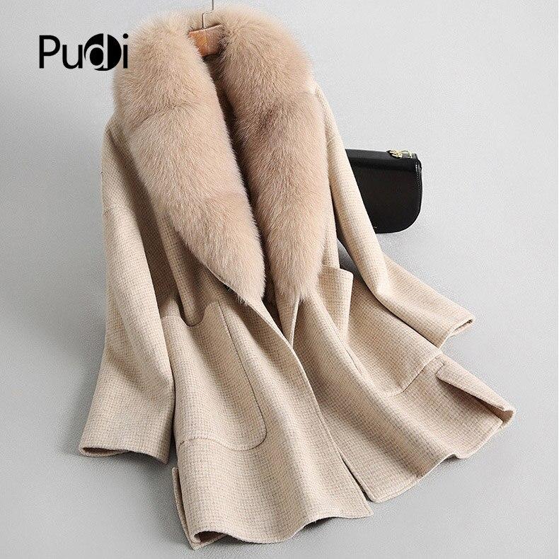 Fourrure Manteau Veste Loisirs Laine Ro18153 Pudi Avec Lady De Poche Style Plaid Livraison 2019 Col Femmes Automne Big Fox Hiver qcHBg06B8U