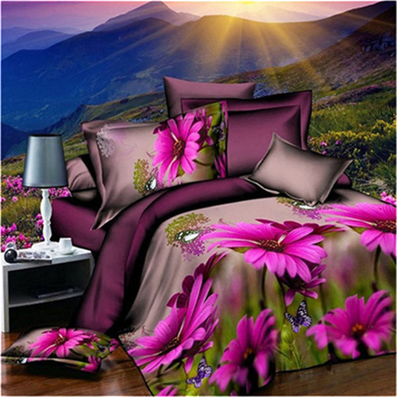 Hohe qualität Lila druck 3d bettwäsche-sets queen-size-bettwäsche bettbezug set Bettbezug + Bettlaken + 2 kissenbezüge