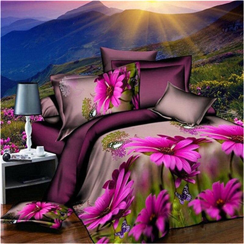 high quality Purple print 3d bedding sets queen size bedclothes duvet cover set Duvet Cover+Bed Sheet+2 Pillowcases