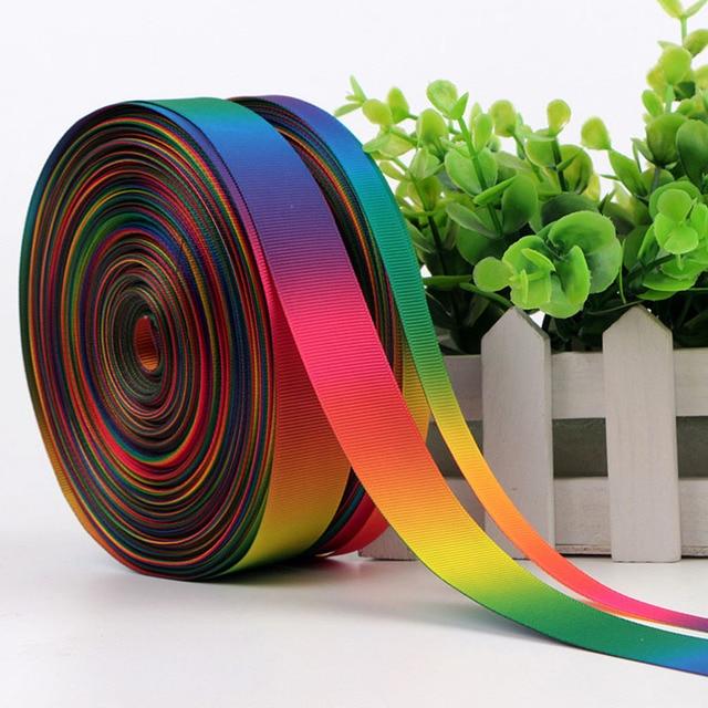 9mm 75mm 7 colores gradiente doble Cara grosgrain cinta de satén ...