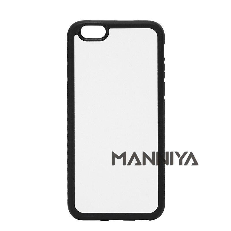 Цена за Manniya 2D сублимации пустой резиновый TPU + PC чехол для iPhone 6/6S с алюминиевыми вставками и клей Бесплатная доставка! 100 шт./лот