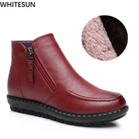 WHITESUN Women Winter Shoes Wedge Heel Snow Boots Female Ankle Boots Two Side Zipper Design Antiskid