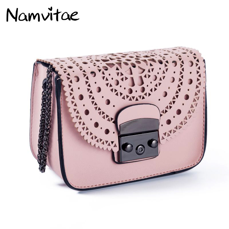 все цены на Namvitae Fashion Women Small Bags Hollow Out Leather Women Crossbody Bag Famous Brand Ladies Messenger Shoulder Bag Clutch Purse