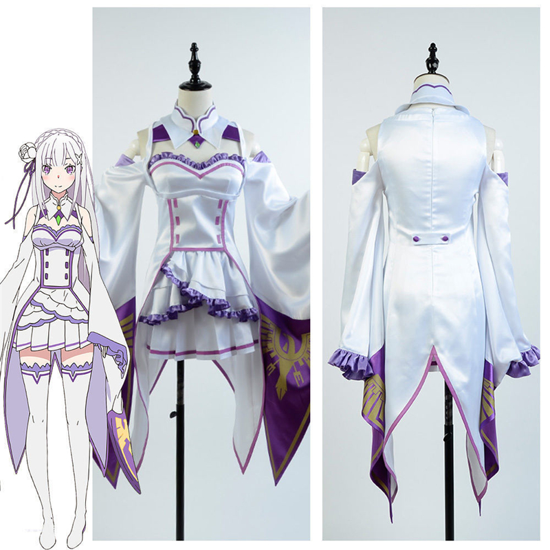 Re Zero kara Hajimeru Isekai Seikatsu Emilia Cosplay Costume Re:Life in a Different World from Zeros Dress For Woman Anime