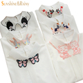 new brand women office shirts Korea animal Embroidery collar blouse long-sleeved Lace chiffon for female butterfly white tops