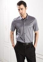 Высокая конец мужская одежда натурального шелка Бизнес Повседневная летняя обувь носить шелковые трикотажные рубашки с короткими рукавам