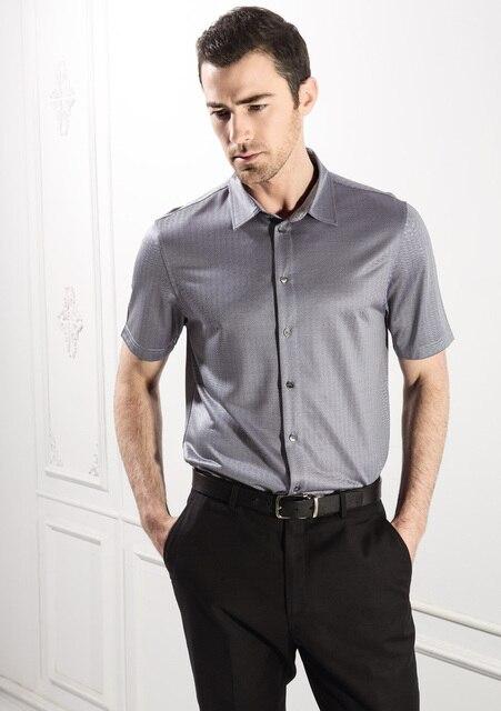 High-end мужская одежда шелковицы бизнес случайный летом носить шелковые трикотажные рубашки с короткими рукавами
