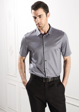 High-end men's clothing Mulberry silk business casual summer wear silk knitted shirts with short sleeves