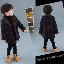 Новая детская одежда на осень и зиму, модное шерстяное пальто в клетку для маленьких мальчиков детская куртка теплая ветровка для мальчиков, рождественские подарки