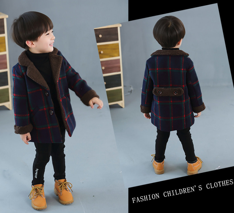 New Children's Wear For Autumn and Winter Baby Boys Plaid Fashion Woolen Coat Kids  Jacket Boy Warm Windbreaker Christmas Gifts