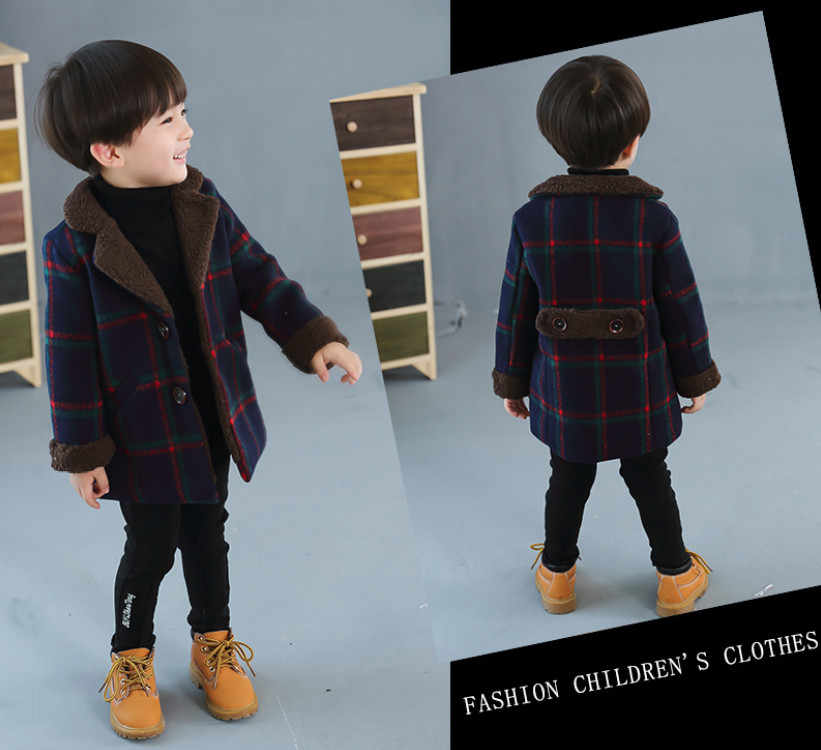 cc62c4647 New Children's Wear For Autumn and Winter Baby Boys Plaid Fashion Woolen Coat  Kids Jacket Boy