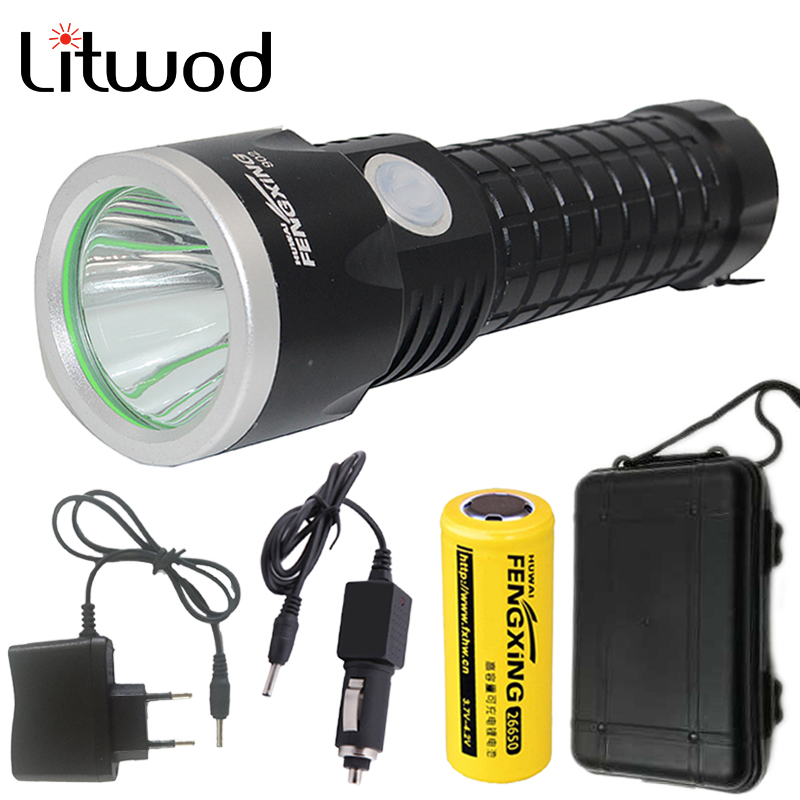 купить Litwod Z30902 Led Flashlight Torch XM-L T6 3800LM Rechargeable With 26650 Battery AC Charger Car Charger  & Tool Box недорого