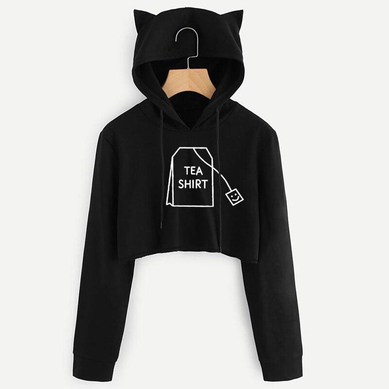 Women Crop Top Hoodie Tea Shirt Print Sweatshirts Long Sleeve Funny Casual Lovely Harajuku Style Plus Size Cropped Hoodies Tops