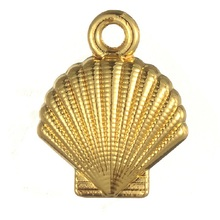 TJP 10pcs Antique Gold Tone Seashell Shell Scallop Charms Pendants for Necklaces DIY Handmade Jewelry Making Findings 13x16mm