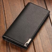 Manufacturers men's long bi-fold wallet card-business leather money clip leather wallet Korean
