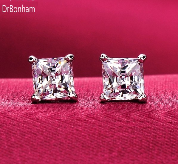 White Gold Filled AAA+ Square Zircon Earrings Punk Style Wedding Engagement Jewelry Women and Men Earring Brinco/Brincos 8MM