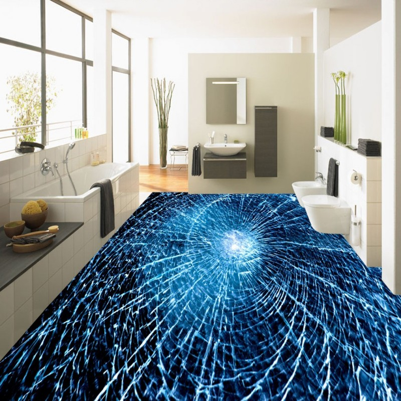 Popular bathroom glass floor buy cheap bathroom glass for Broken glass mural